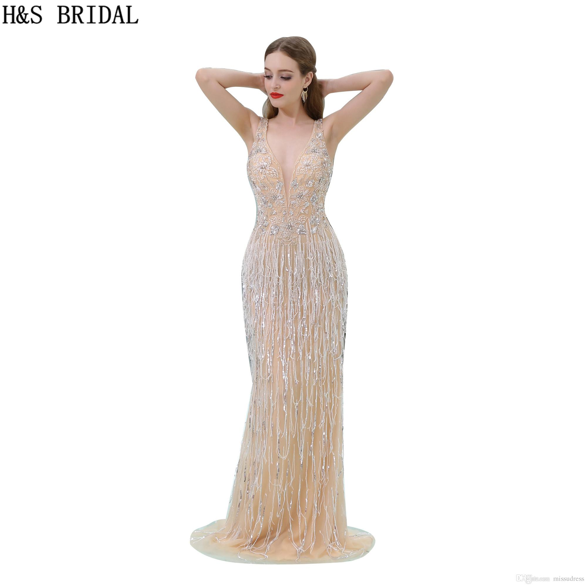 f9d72516b3 Sparkle Deep V Feather Evening dresses Champagne Luxury Shinny Beaded  Elegant Evening Gowns Party Dresses B063