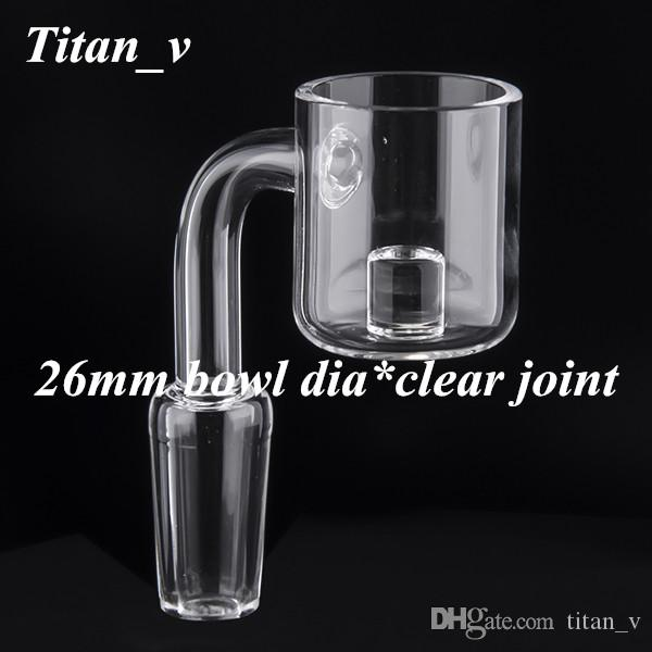 Reactor Core Quartz Banger Clear Joint 90 Degree 10 14 19mm Male Female 26mm Bowl Dia Glass Water Pipe Oil Rig 617
