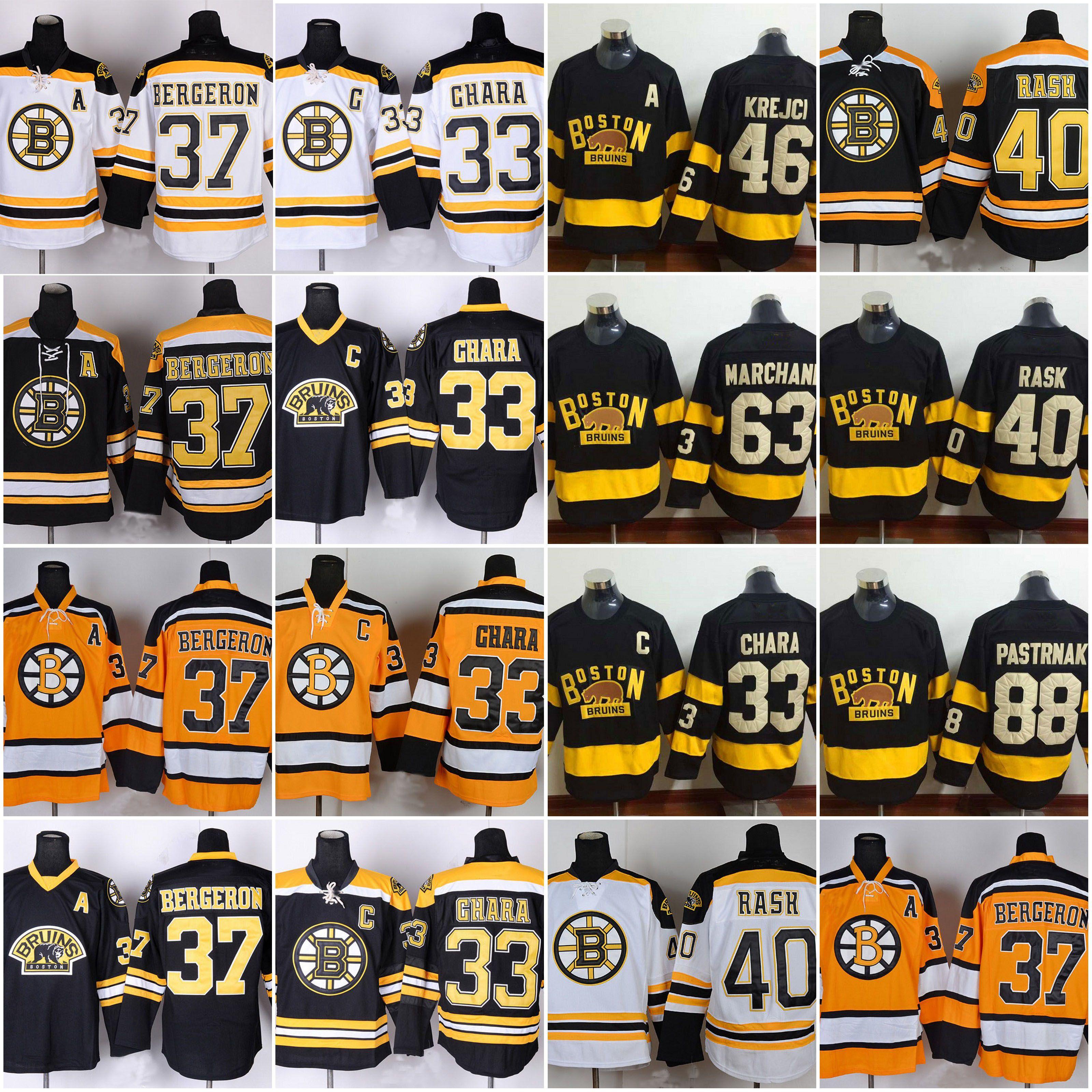 37 Patrice Bergeron Boston Bruins Hockey Jersey 63 Brad Marchand 40 ... f3eaa52ee