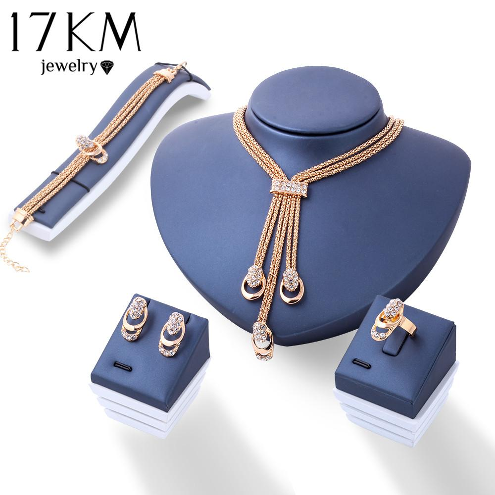 Best 17km Rose Gold Color Crystal Necklace Earring Bracelet Ring Set