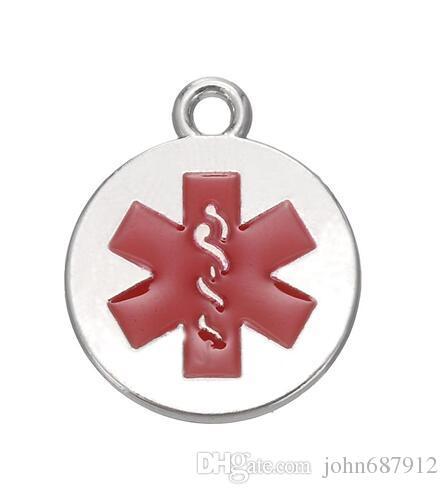 Envío gratis mucho rodio plateado y oro 18k chapado en alerta médica Caduceo encantos rojo esmalte estrella de la vida