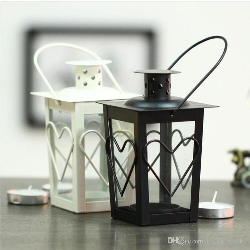 Black White Metal Candle Holders Iron Lantern Wedding Candelabra