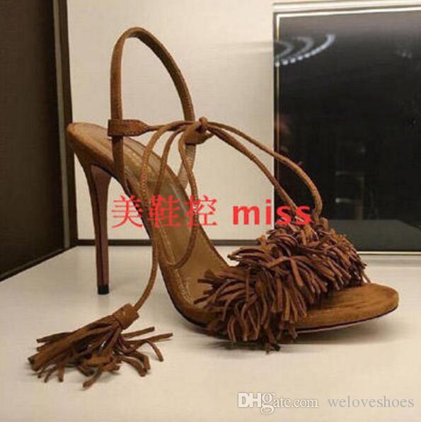 2017 sommer frauen gladiator sandalen sexy offene spitze quaste sandalen kleid schuh leder fringe high heels party schuhe dünne ferse 12 cm