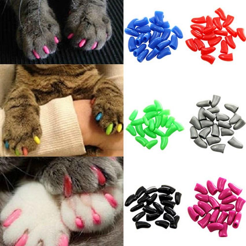 2018 Hot Dog Cat Nail Covers Pet Claw Paws Caps Adhesive Glue Animal ...