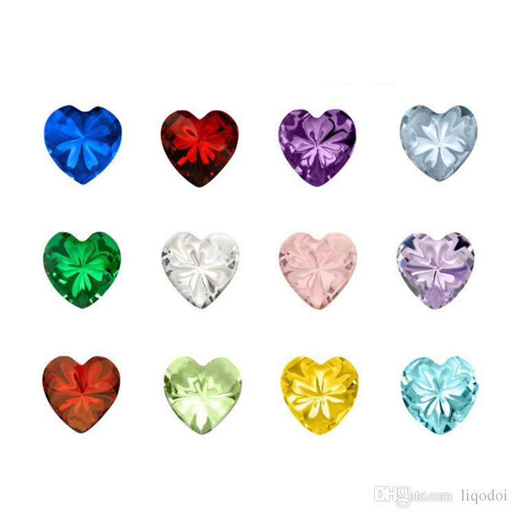 Mix Heart/Round/Star Birthstone Charms Crystal Birthday Stone Floating Locket Charms for Living Memory Locket