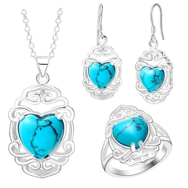 Thick silver fashion and beautiful set of beautiful turquoise jewelry wholesale Crystal zircon pendant Necklace earring ring Jewelry Set