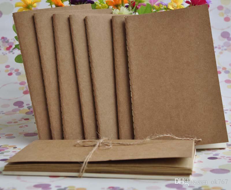 Livro de papel do couro em branco caderno bloco de notas do vintage papel Kraft Fácil de transportar Pequeno caderno Grafite esboço Criativo Simples papelaria