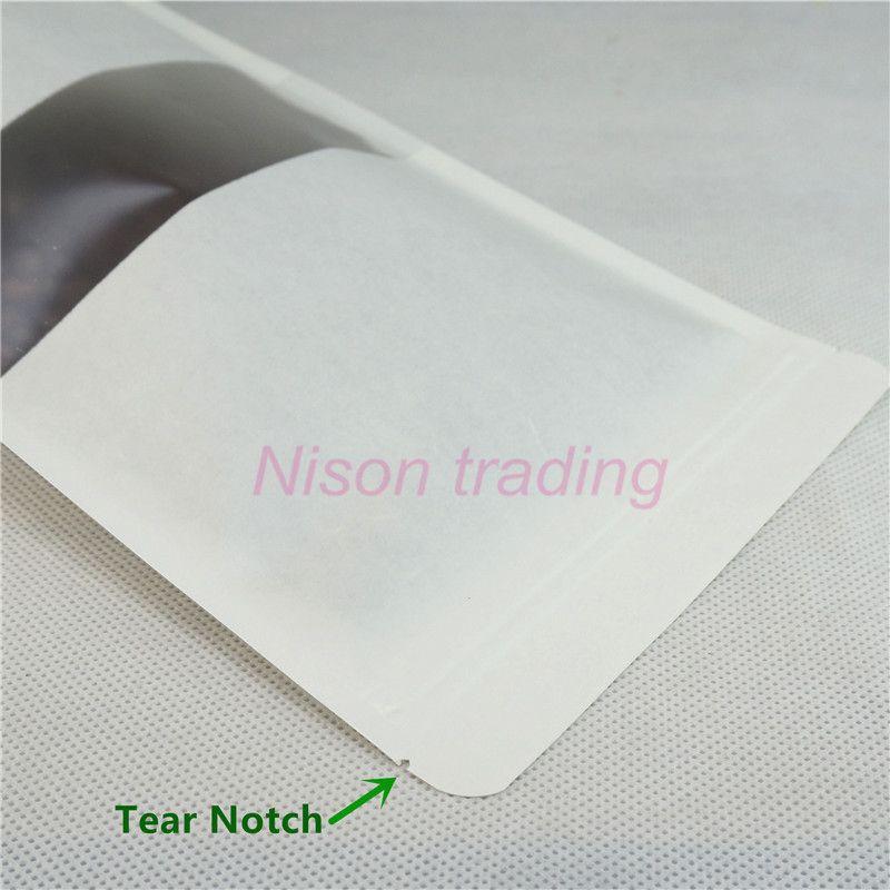 100 pz / lotto, 10 * 15 cm stand up sacchetto di carta Kraft bianco con finestra trasparente opaca, sacchetto di carta polvere di carbone di legna riapertura, sacco di farina
