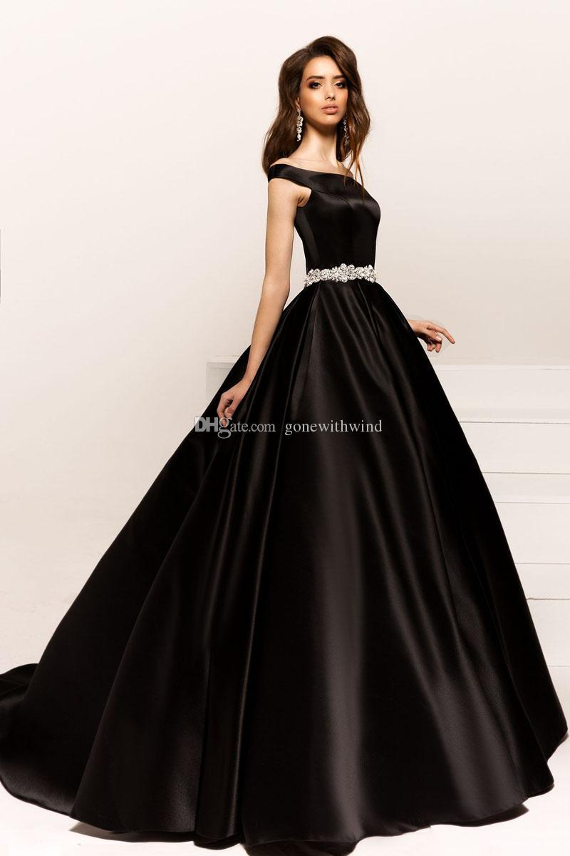 Black Satin Off Shoulder Evening Dresses 2017 Crystal