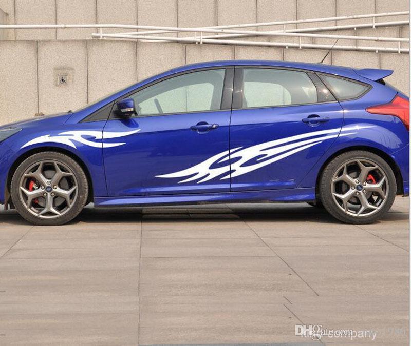 black sport vehical truck car sport flame auto waist line car sticker car body emblem auto decal for FOCUS