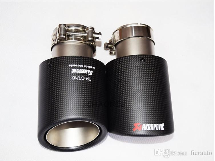 Carbon Fiber Coated Stainless Steel Universal Car Exhaust Pipe Tip Tailtip 57mm /89 mm Akrapovic Car Exhaust Matte Black
