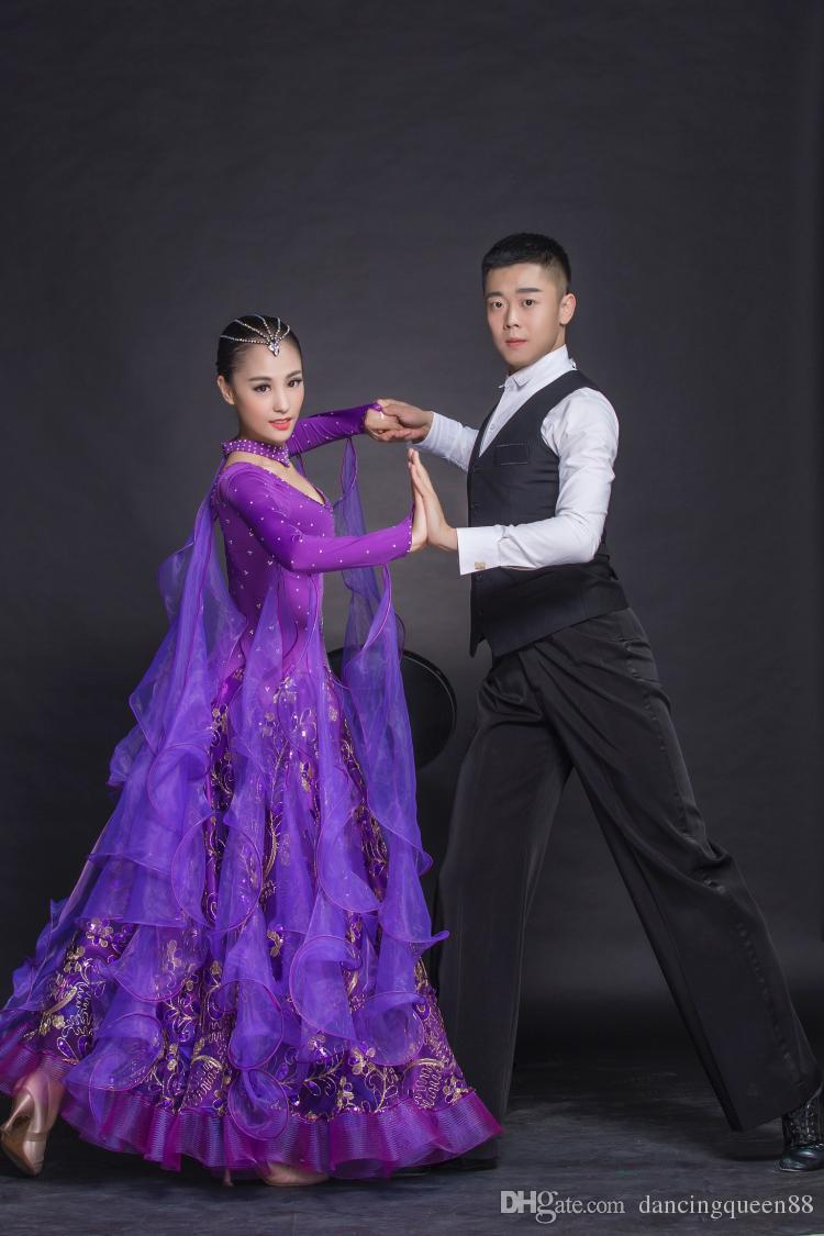 2018 high-grade diamond embroidery dress modern ballroom dance waltz Tango Foxtrot quickstep Dress Costume Contest evening dress dance skirt