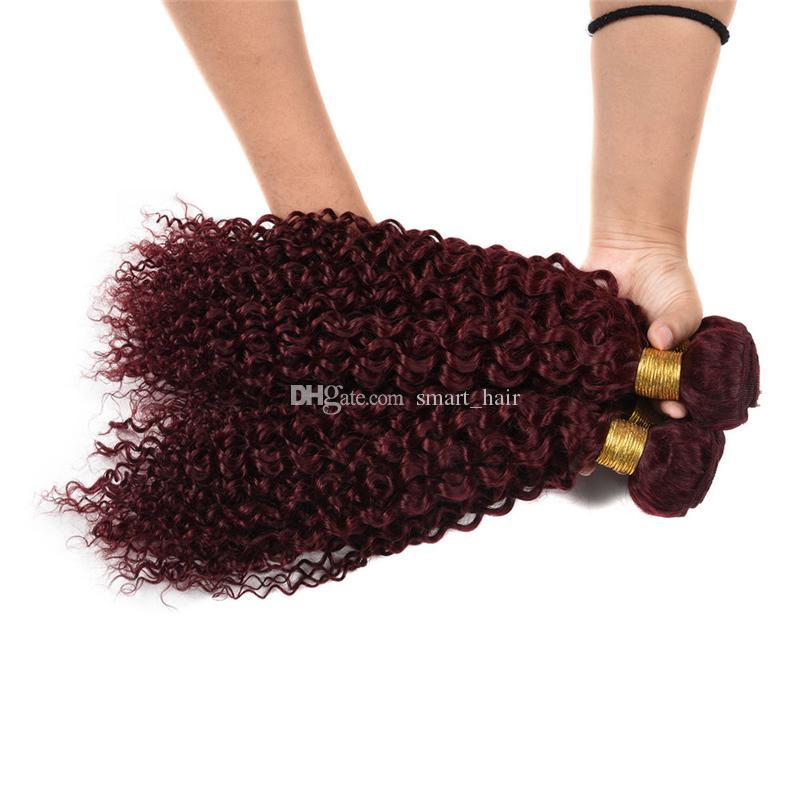 Bundles brasiliani vergini brasiliani dei capelli # 99j Estensioni crespi ricci dei capelli doppia trama colore puro vino rosso capelli tesse 10-30 pollici