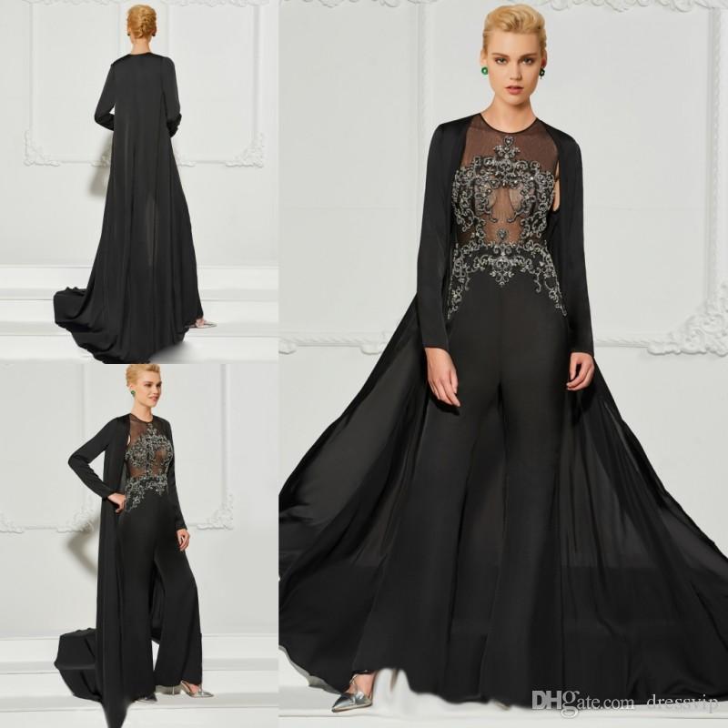 d767a83f1e6f Mono negro Vestido de noche con chaqueta Dos piezas Abalorios de apliques  Ilusión Vestido de fiesta sexy Madre de la novia Vestidos Fiesta de  vestidos ...