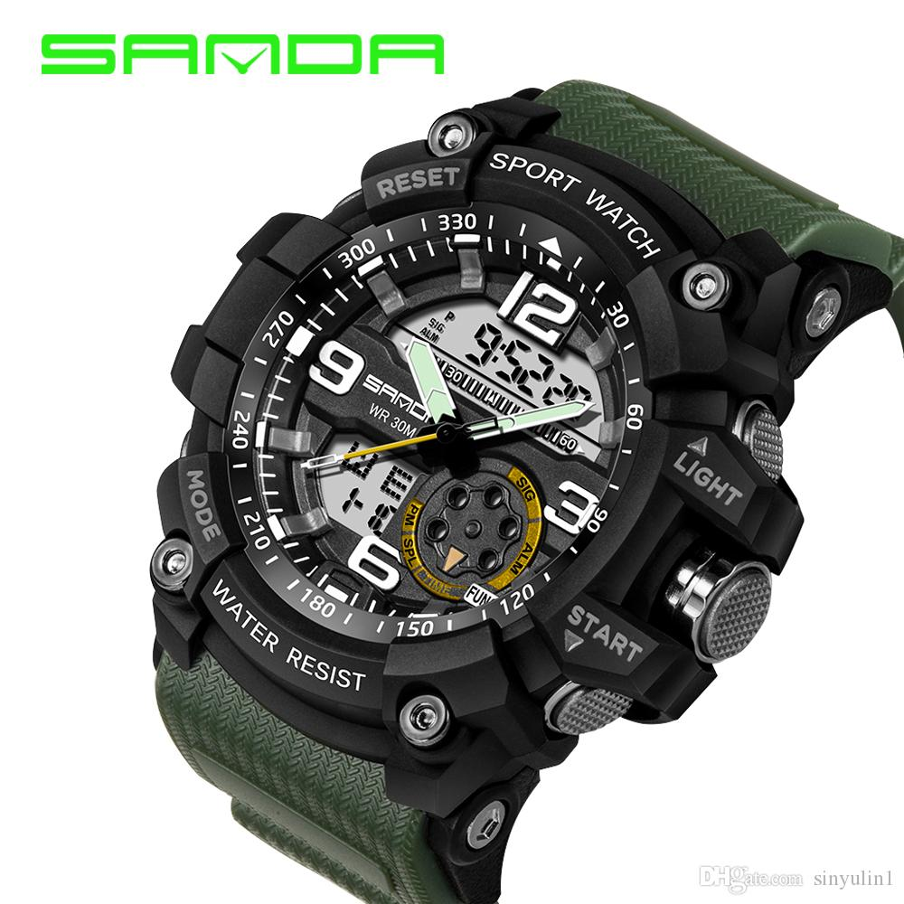 bc4d67ffe36 2017 Sanda Design Digital Watch Water Resistant Date Calendar Led Electronics  Watches Men Military Army Sport Relogio Masculino Wrist Watch Gold Watches  ...