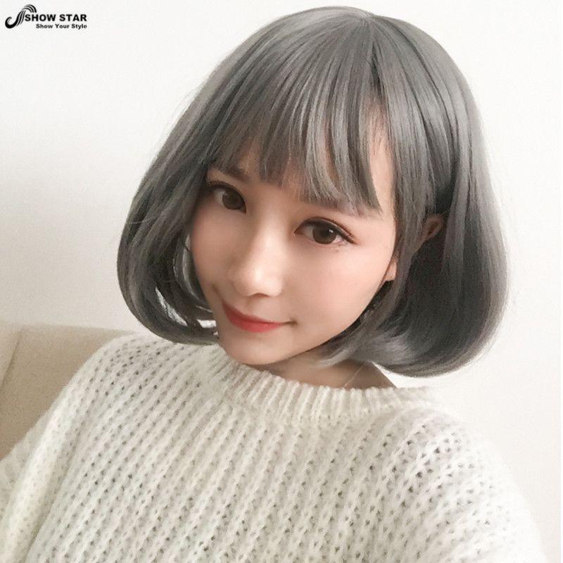 High Quality Silver Grey Wig Cosplay Cosplay Anime Women Wig - Anime bob hairstyle
