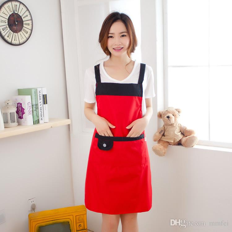 Restaurant Kitchen Aprons dhl fast shipping women apron korean waiter aprons with pockets