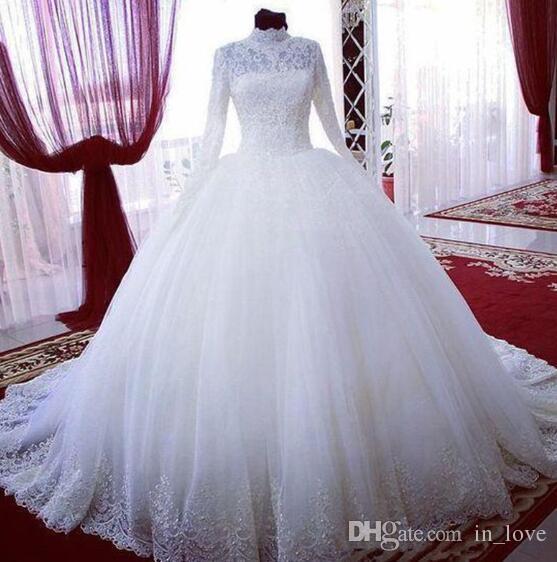 Manches longues col haut robes de mariée musulmanes robe de bal dentelle dentelle tulle balayage train luxe robes de mariée taille personnalisée