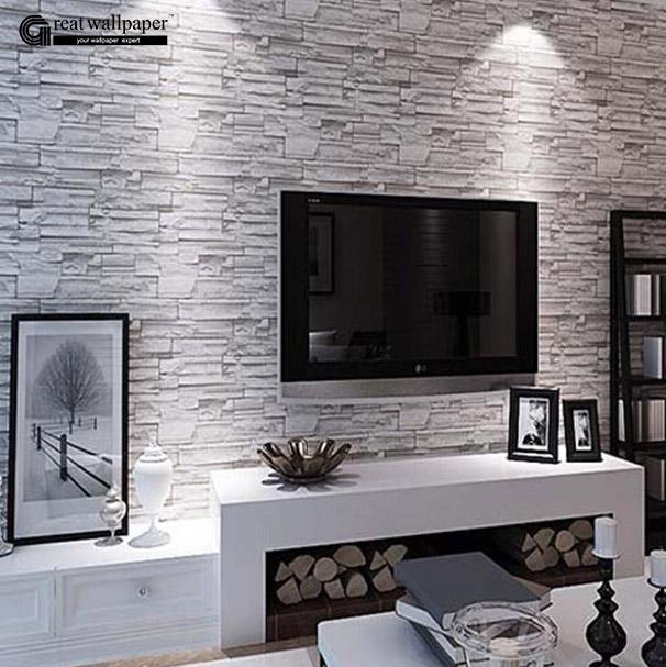 Acheter Gros Grande Mur 3d Pvc Moderne Brique Papier Peint Pour