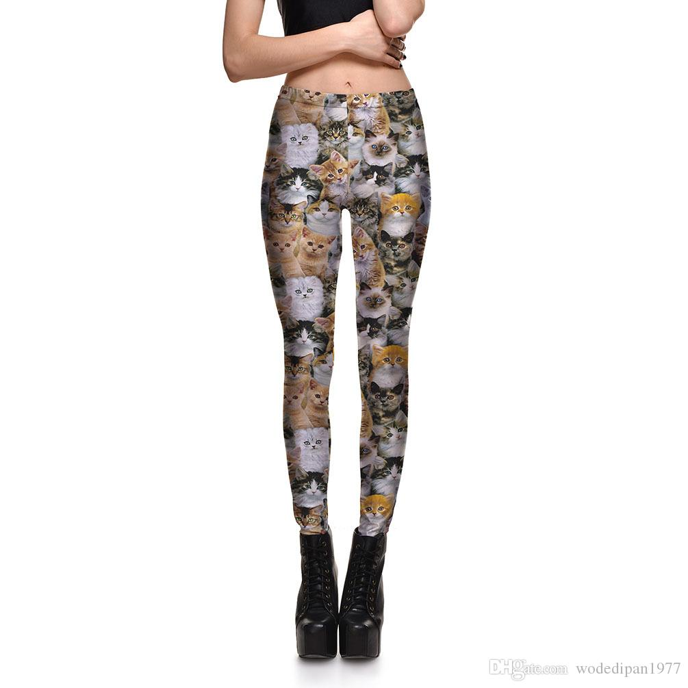 6216a4d7b8dc7 2018 Womens Cute Cat Digital Print Slim Fitness Workout Leggings For Ladies  Fashion Active Beauty Bodycon Skinny Pencil Pants S 4xl From Wodedipan1977,  ...