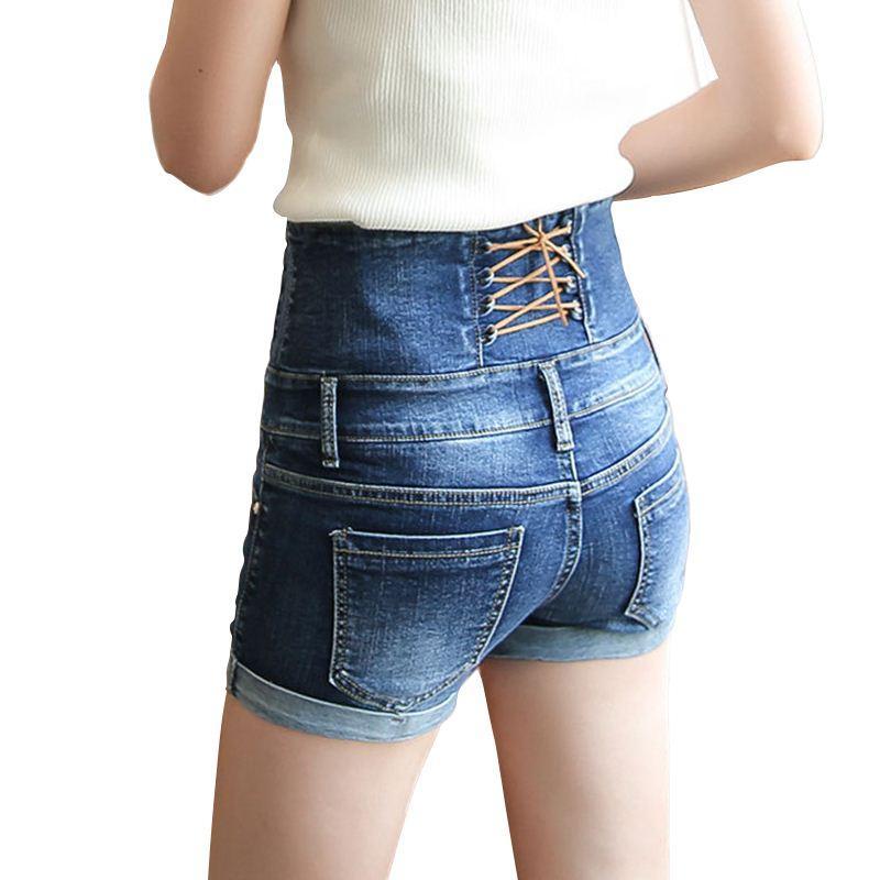 53be368e274a7 2017 New Women High Waist Rolled Hem Denim Shorts Ladies Blue  Cross-Drawstring Back Slimming Summer Short Jeans Bottom Plus Size