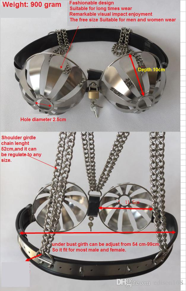 Latest Female Adjustable Stainless Steel Hollow Out Bra Brassiere With Lock Women Chastity Belt Device Adult Bondage Ddsm Sex Toy