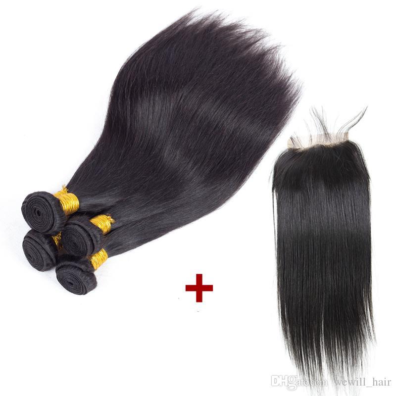 Nueva llegada malasio peruano brasileño indio del pelo armadura 4 paquetes con cierre Barato Remy del pelo humano trama con cierre para las mujeres negras