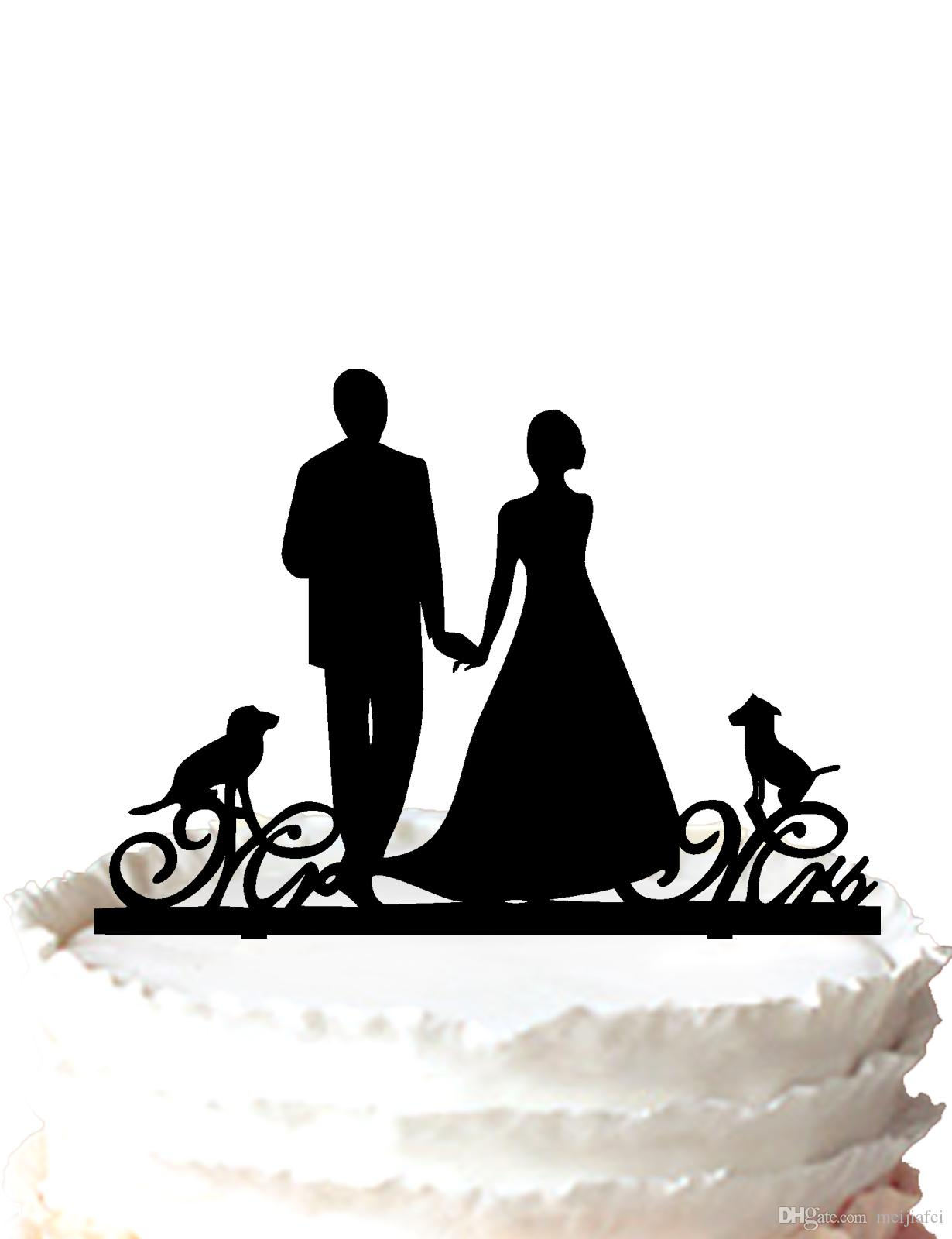 2018 Mr & Mrs Wedding Cake Topper Bride And Groom Silhouette With ...