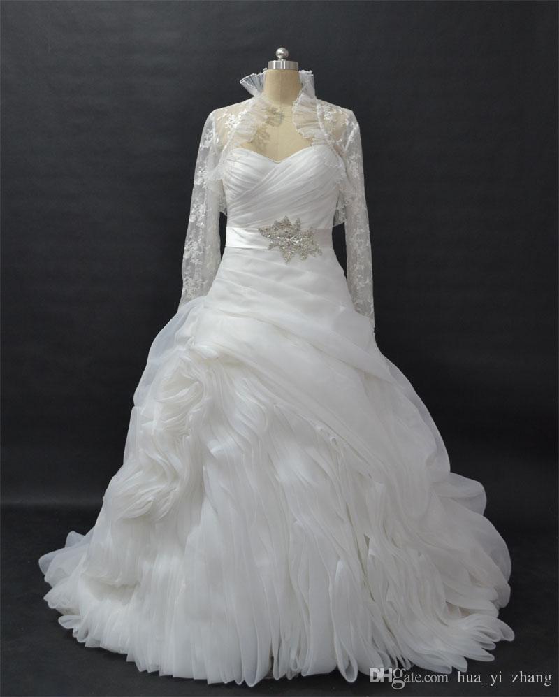 Baljurk geplooid bruidsjurken strapless pick-up kapel trein bruidsjurken vestidos de novia met lange mouw Bolero