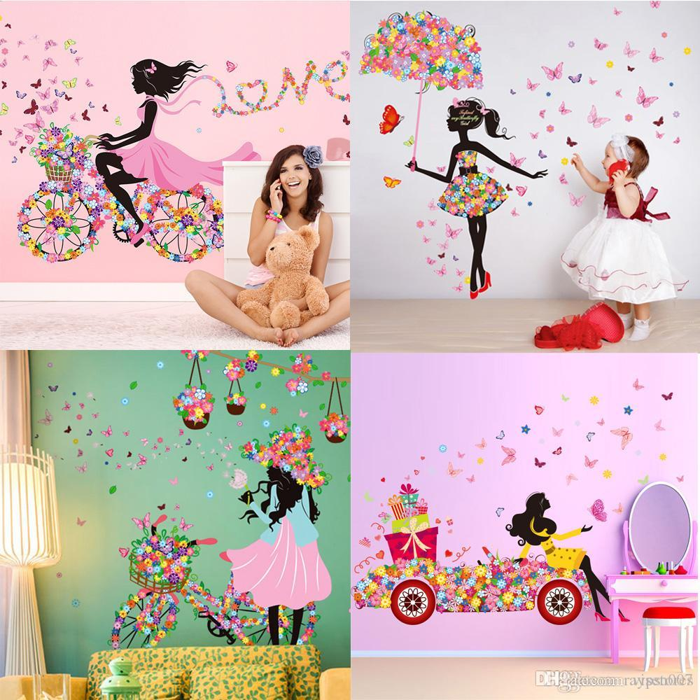 Diy Beautiful Girl Home Decor Wall Sticker Flower Fairy Wall
