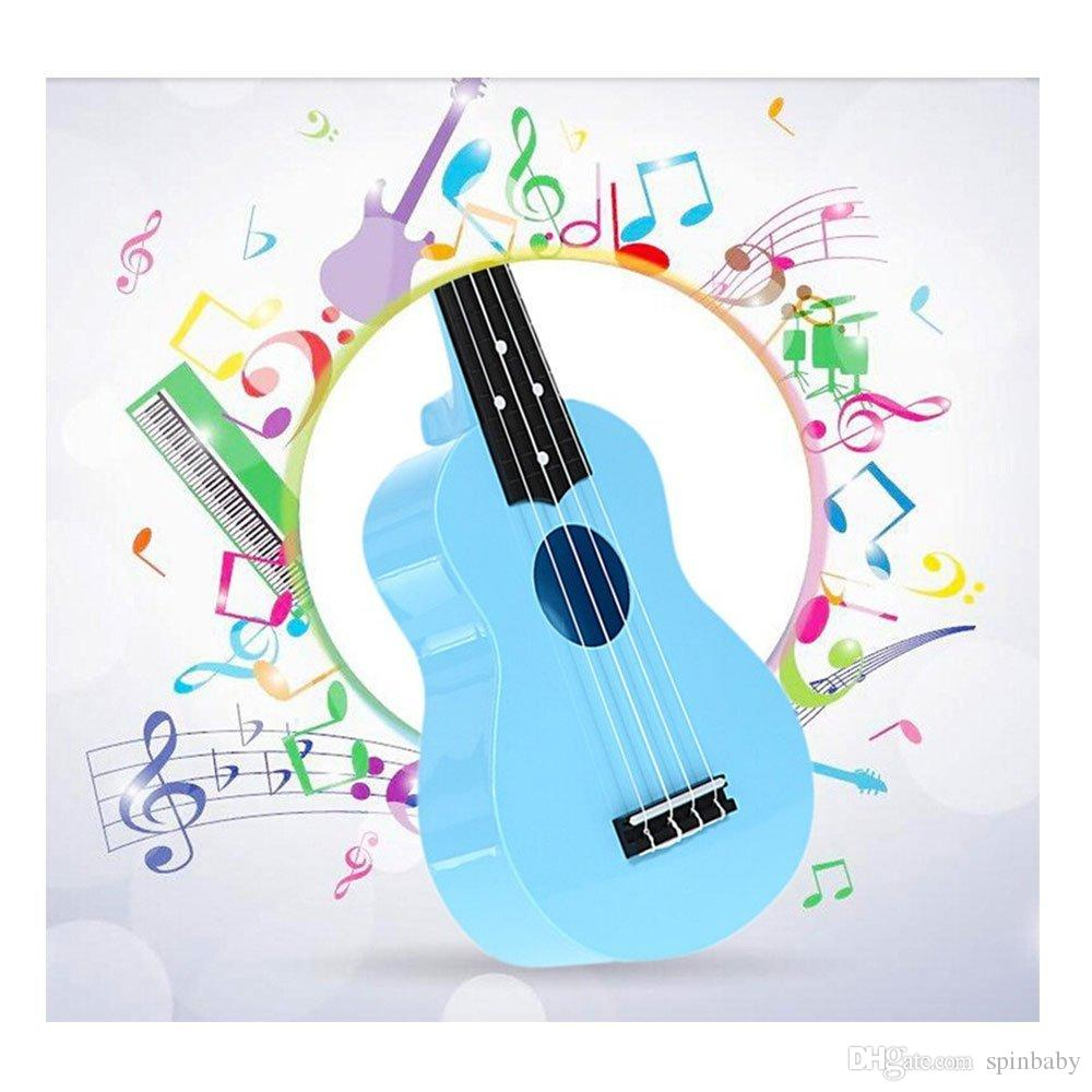 Wholesale Toy Ukulele 21 Inch Soprano Plastic Hawaiian Guitar for Beginner Student Children Kid Gift Blue and Pink