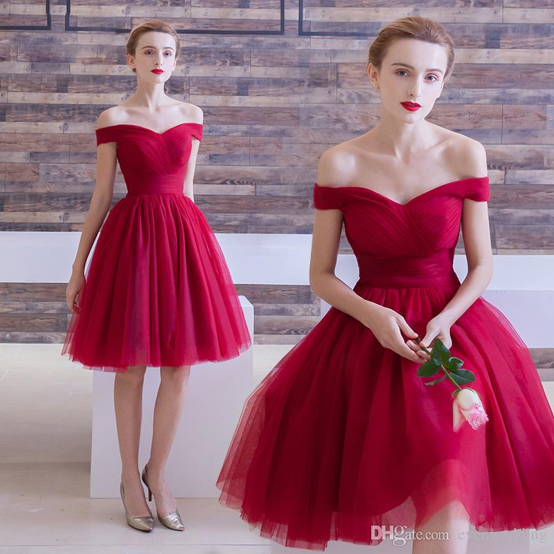 97344623e37e Off Shoulder Soft Tulle Bridesmaid Dress Short Burgundy 2019 Knee Length  Beach Bridesmaid Dresses Lace Up White Bridesmaids Dresses Wine Colored  Bridesmaid ...