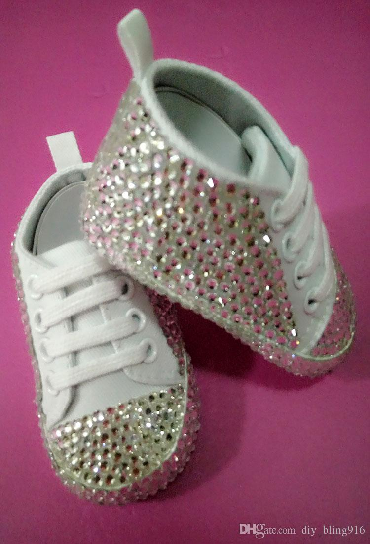 Bling Bling Handmade Baby Shoes Sole Slip Resistance with White ... a7573772d