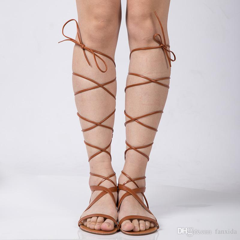 2017 Shoes Women Sandals Lace Up Sexy Knee High Boots