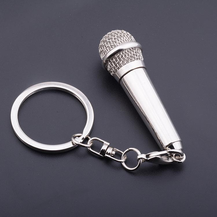 FREE SHIPPING by FEDEX 100pcs/lot 2016 Novelty Metal Microphone Keychain Gift Keyring for Lovers Can Deliver a Message
