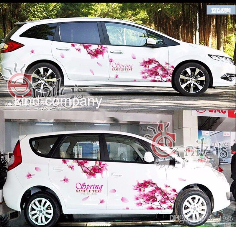 A Set auto motor rose red cherry blossom power vehicle truck Car Truck Decal Vinyl WRC Totem Graphics Side Decal Body Sticker