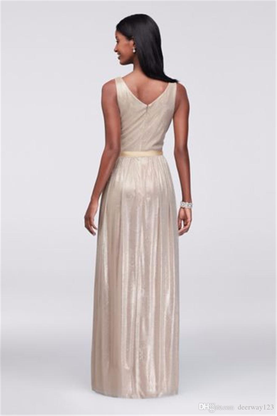 Ruched V-neck Bodice Metallic Foil Evening Gown with Ruched Waist Champagne Floor Length 263343 Prom Dresses vestido de festa curto
