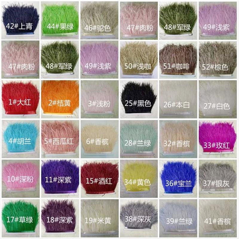 Piuma dello struzzo 10m / lotto molti colori Ostrich Feather Fringe le piume di struzzo abito da sposa nozze centrotavola decorazione dei vestiti