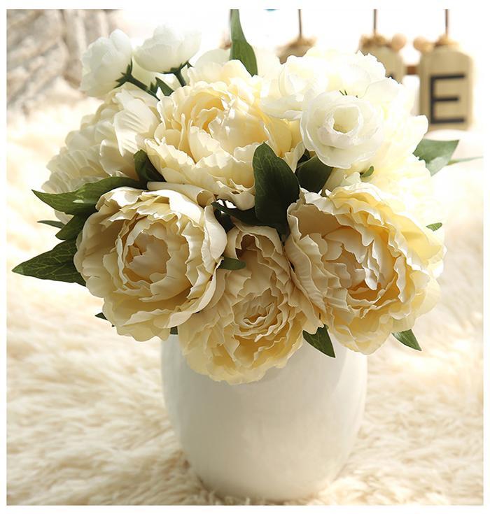 Trasporto libero all'ingrosso Artificiale Bianco Seta Peonia Rose bouquet da sposa fiori finti pianta camera da letto bottiglia di nozze e tavolo decoation