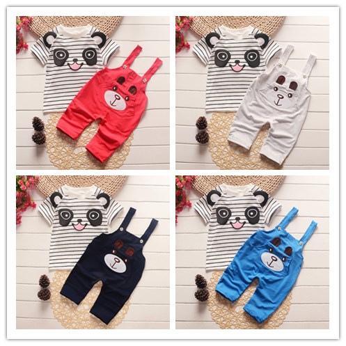 Roupas De Bebe Infant Clothing Sets Baby Boys Girls Striped Panda T