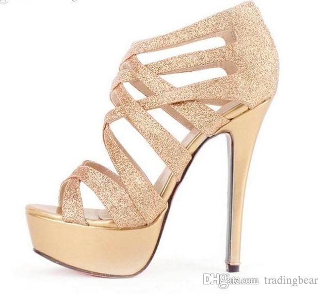 bf452d20877944 Compre Brillo De Las Mujeres Tacones Altos Vestido De Oro Sandalias  Crossover Sandalias De Gladiador Sexy Stiletto Talón Zapatos De Las Mujeres  Sandalias De ...