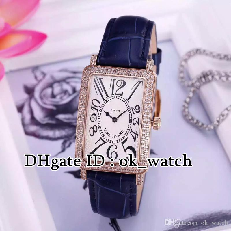 High quality new LONG ISLAND 902 QZ D Quartz womens watches Diamond bezel white dial black leather strap Ladies fashion watches