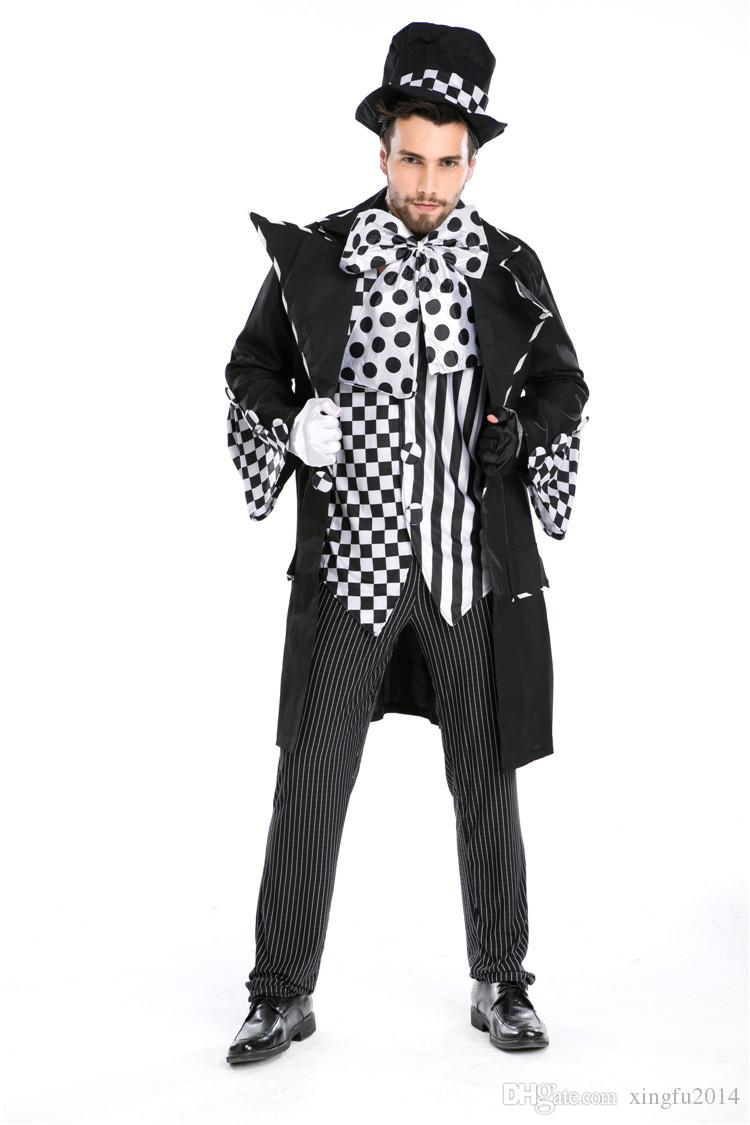 Halloween Carnival Costumes Adult Men Magician Chaplin Dark Mad Hatter Costume Uniform Fancy Cosplay Clothing for Men