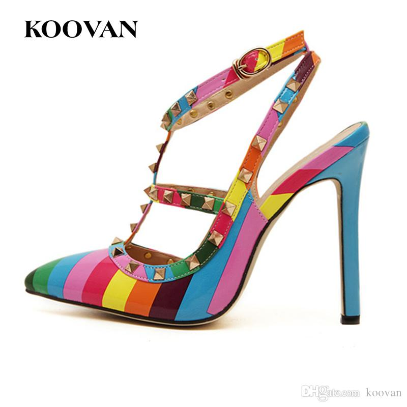 718a43bed31e Designer Rivets High Heel Pump Women Shoes V Rainbow Color Doubt Straps  Wedding Shoes Pointed Stud Shoes Free Ship R 06 Walking Shoes Flat Shoes  From Koovan ...