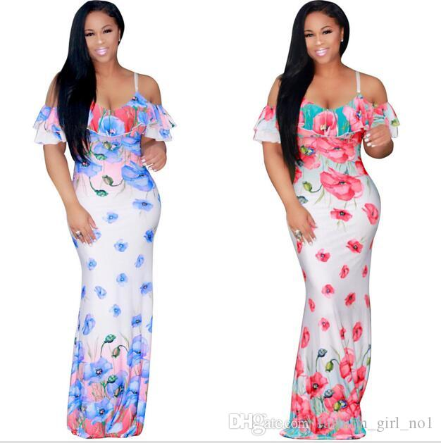 730e9bfe46b3 Женщины цветок печати слинг платье мода сексуальные женщины длинные платья  пляж ...
