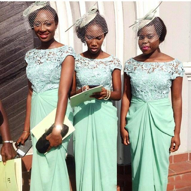 Nigrian Bridal Wedding Dresses: Nigerian African Mint Green Sheath Bridesmaid Dresses Lace