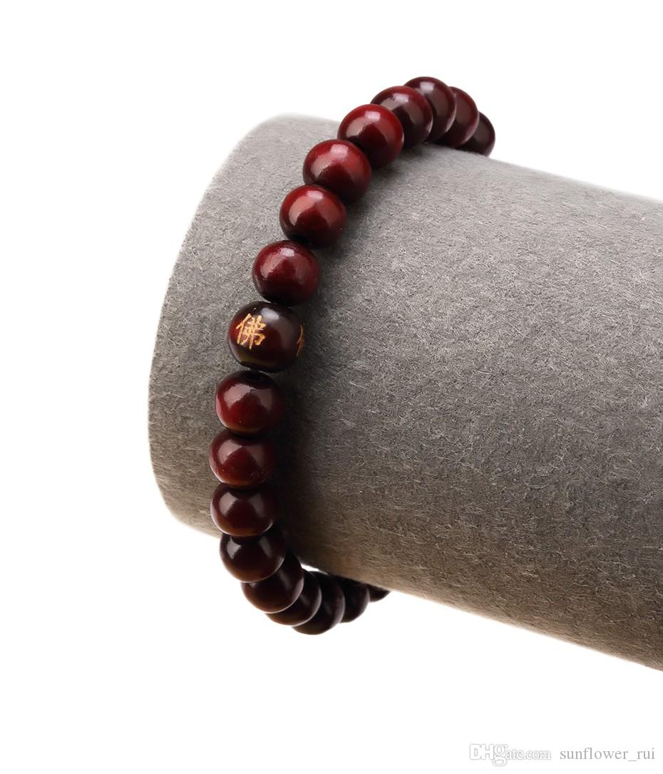Hot Hip Hop Men Wood Beads Bracelets Sandalwood Buddhist Buddha Meditation Prayer Bead Bracelet Wooden Jewelry young man