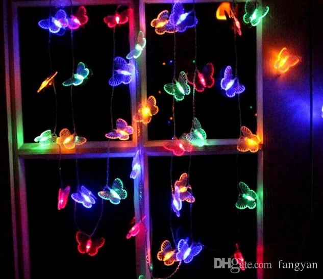 10 M 50 Led Butterfly LED Chain Lights AC110V / 220V Outdoor and Indoor Christmas Holiday Christmas Decoration Lights