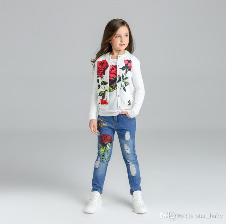 7c2b940f3 2017 Spring New Girl Clothes Sets 2 Styles Rose Flower Lemon Three Piece Set  Fashion Outfits Jacket+T Shirts+Jeans Children Clothing Q0649 NZ 2019 From  ...