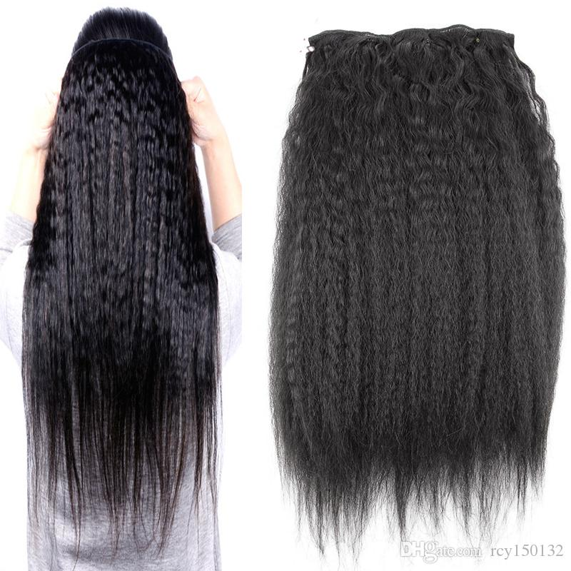 Natural black hair Itailian corase yaki clip in human hair extensions 120g kinky straight clip in extensions